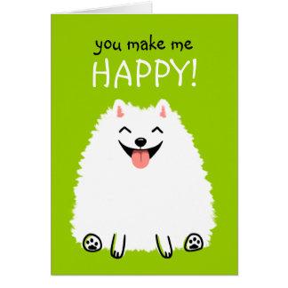 Happy White Pomeranian with Custom Text Card