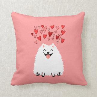 Happy White Pomeranian with Pink Hearts Cushion