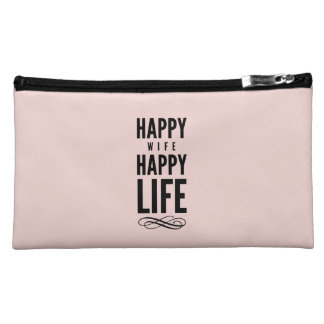 Happy Wife Funny Marriage Quote Pink Cosmetic Bags