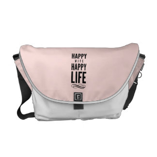 Happy Wife Funny Marriage Quote Pink Courier Bag