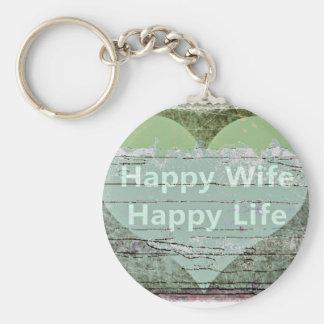 Happy Wife Happy Life by Kaye Talvilahti Basic Round Button Key Ring