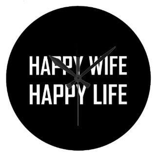 Happy Wife Happy Life Large Clock