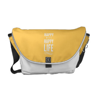 Happy Wife Happy Life Yellow Messenger Bags
