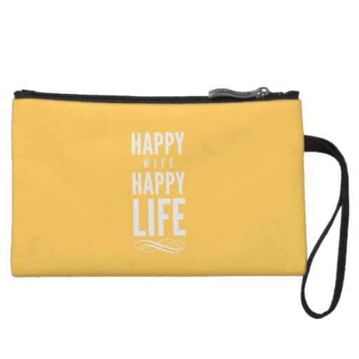 Happy Wife Life Marriage Quote Yellow Wristlet Purse