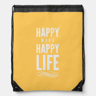 Happy Wife Life Marriage Quote Yellow Backpacks