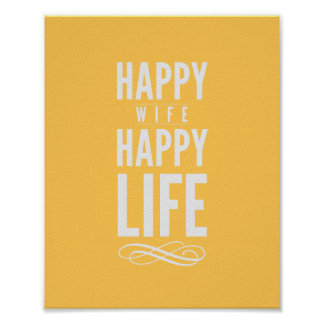 Happy Wife Typographic Quote Print in Yellow