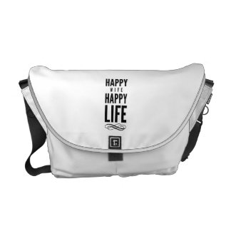 Happy Wife Wise Words Quote White Messenger Bags