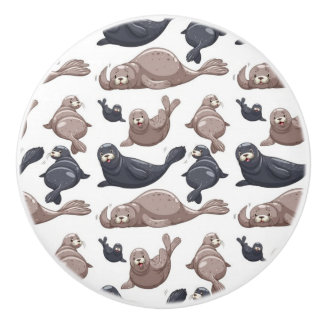 Happy Wild Seals Pattern Ceramic Knob