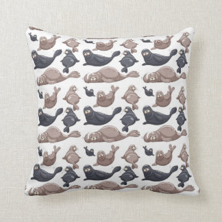 Happy Wild Seals Pattern Cushion