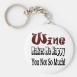 Happy Wine Basic Round Button Key Ring