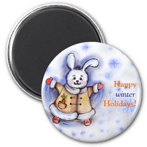 Happy Winter Holidays Bunny Magnet