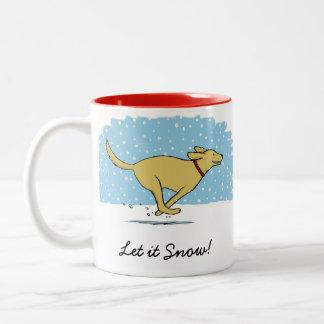 Happy Winter Snow Dog Holiday with Custom Text Two-Tone Coffee Mug