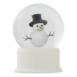 Happy Winter Snowman High Hat Carrot Nose Snow Snow Globes