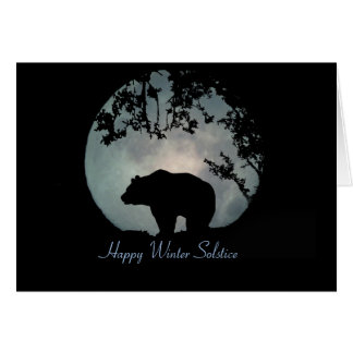 Happy Winter Solstice Bear and Moon Greeting Card