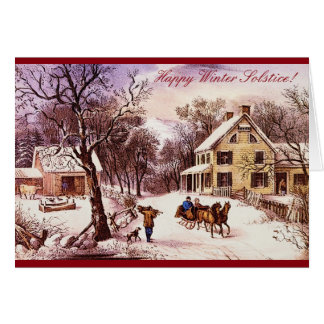 Happy Winter Solstice! Country Farmhouse Greeting Card