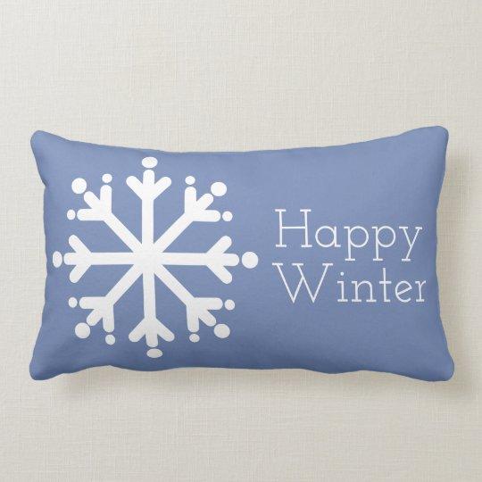 Happy Winter White Snowflakes on Blue Grey Lumbar Cushion