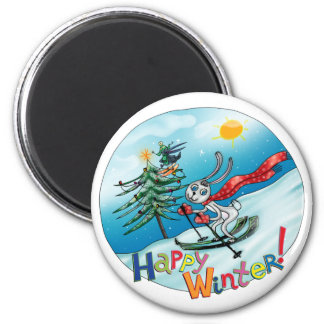 Happy Winter! with rabbit Magnet
