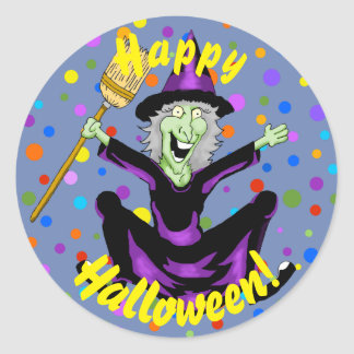 Happy Witch Halloween Stickers