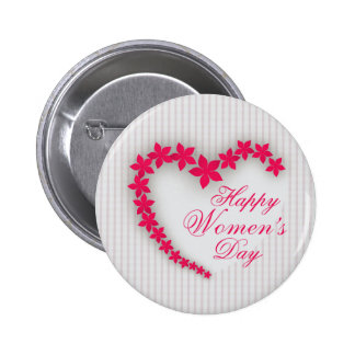 Happy women's day with flower heart 6 cm round badge