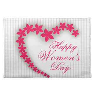Happy women's day with flower heart place mats