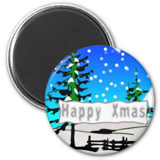 Happy Xmas 6 Cm Round Magnet