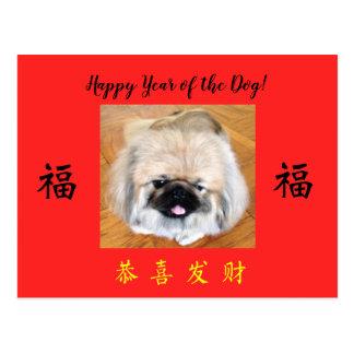 Happy Year of the Dog Pekingese CNY postcard