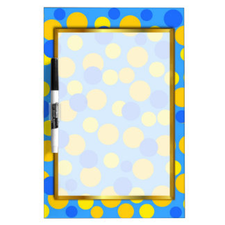 HAPPY YELLOW BLUE BUBBLES WRITING BOARD