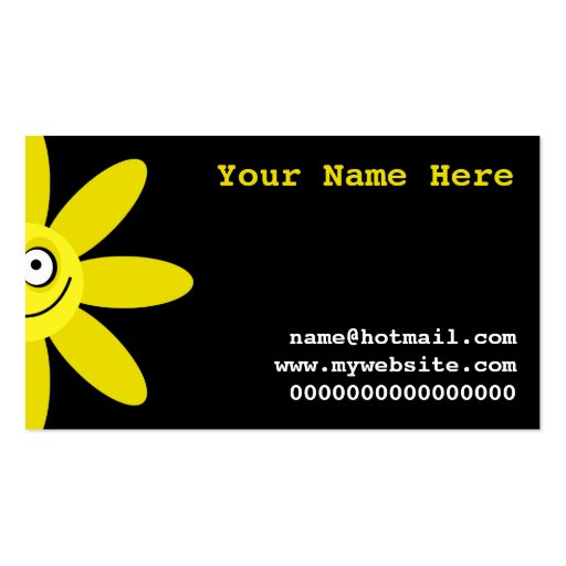 Happy Yellow Flower Business Card Template