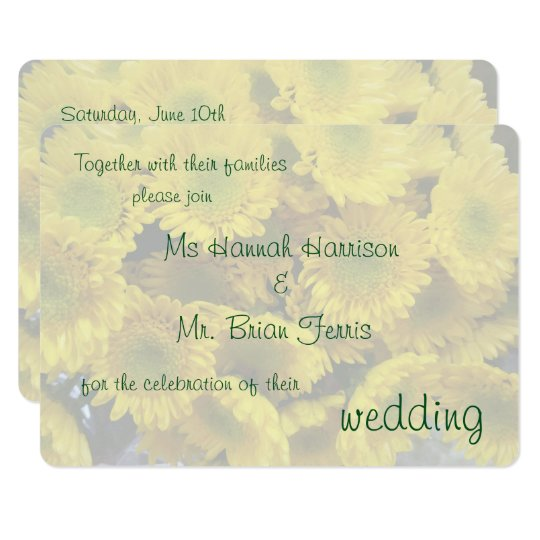 Happy Yellow Flowers Background Wedding Invitation