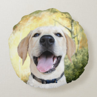 Happy yellow lab puppy round cushion