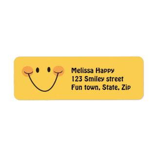 Happy yellow smiley return address labels
