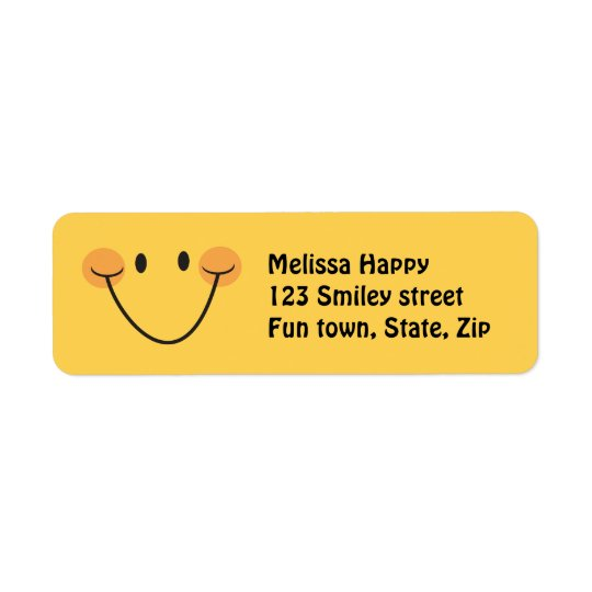 Happy yellow smiley return address labels