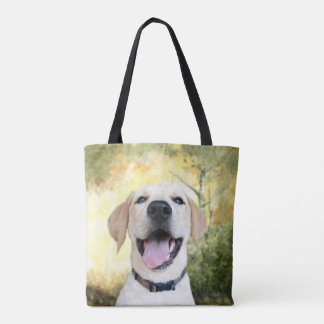 Happy young yellow lab tote bag