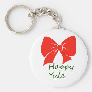 Happy Yule Basic Round Button Key Ring