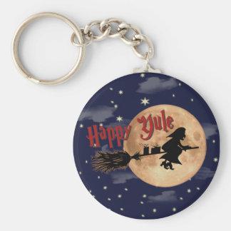 Happy Yule Witch Xmas Keychain
