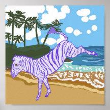 Happy Zebra On The Beach Poster