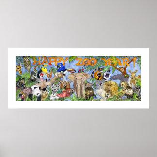 Happy Zoo Year Animals Childrens Wall Art Print