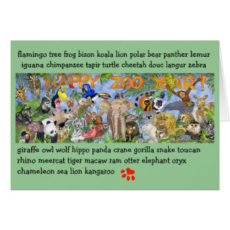 Happy Zoo Year Animals Greeting Card
