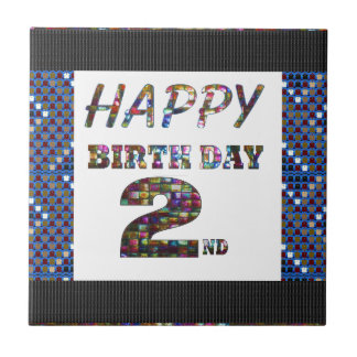 HappyBirthday 2nd Text Small Square Tile
