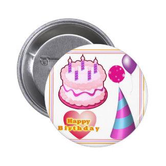 HappyBIRTHDAY Cake Balloon Decorations 6 Cm Round Badge