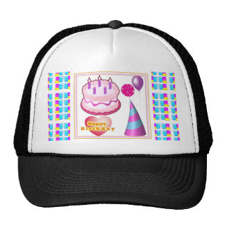 HappyBIRTHDAY Cake Balloon n Text Trucker Hat
