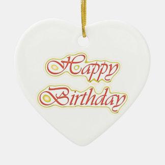 HappyBirthday Happy Birthday  ELEGANT Script Ceramic Heart Decoration
