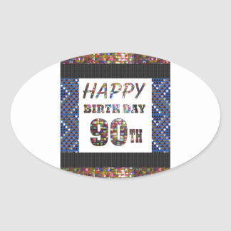 happybirthday happy birthday greeting 90 90th oval sticker