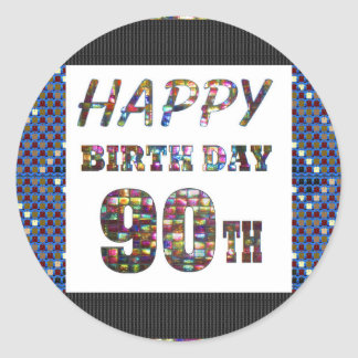 happybirthday happy birthday greeting 90 90th round sticker
