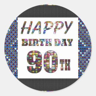 happybirthday happy birthday greeting 90 90th round sticker