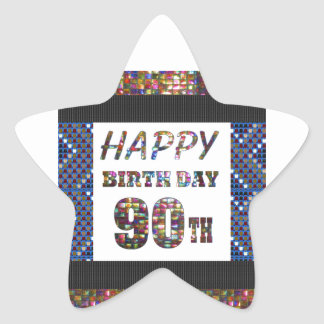 happybirthday happy birthday greeting 90 90th star sticker