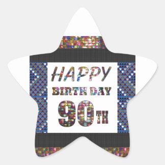happybirthday happy birthday greeting 90 90th star sticker