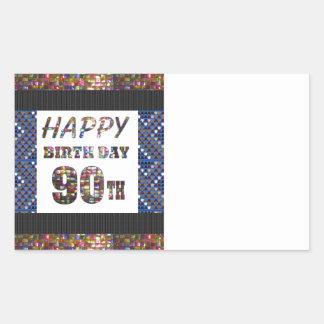 happybirthday happy birthday greeting 90 90th rectangular sticker