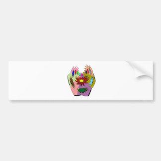HappyHour Lotus Face : Decorated Mask Car Bumper Sticker