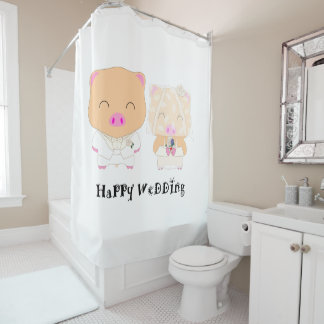 HappyWedding Shower Curtain